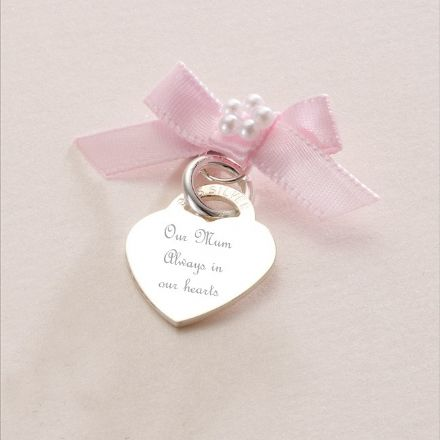 Engraved Silver Heart Memorial Charm